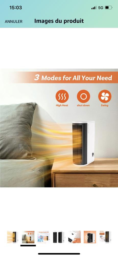 Mini ventilateur chauffage électrique  20 Pecquencourt (59)