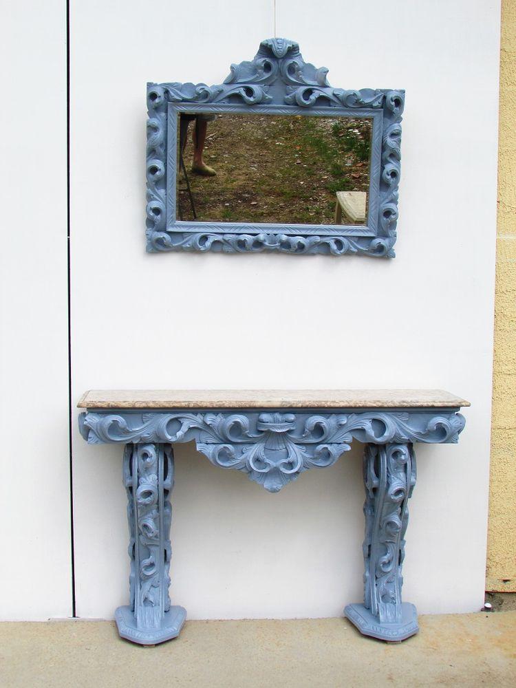 Miroir biseauté sur console et marbre, Rococo 700 Paris 15 (75)
