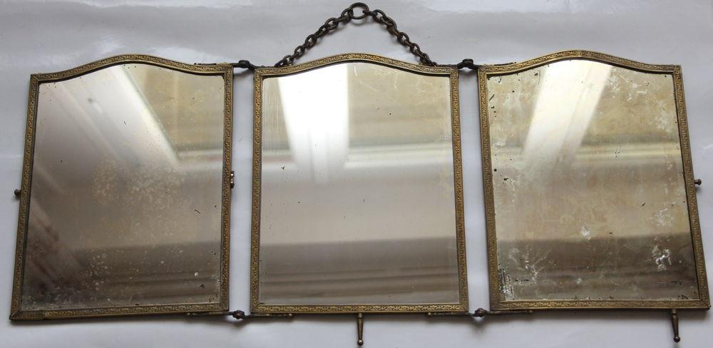 Miroir triptyque fin XIXème avec panneaux sérigraphiée saiso 150 Issy-les-Moulineaux (92)