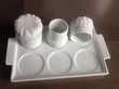6 mises en bouche en porcelaine blanche