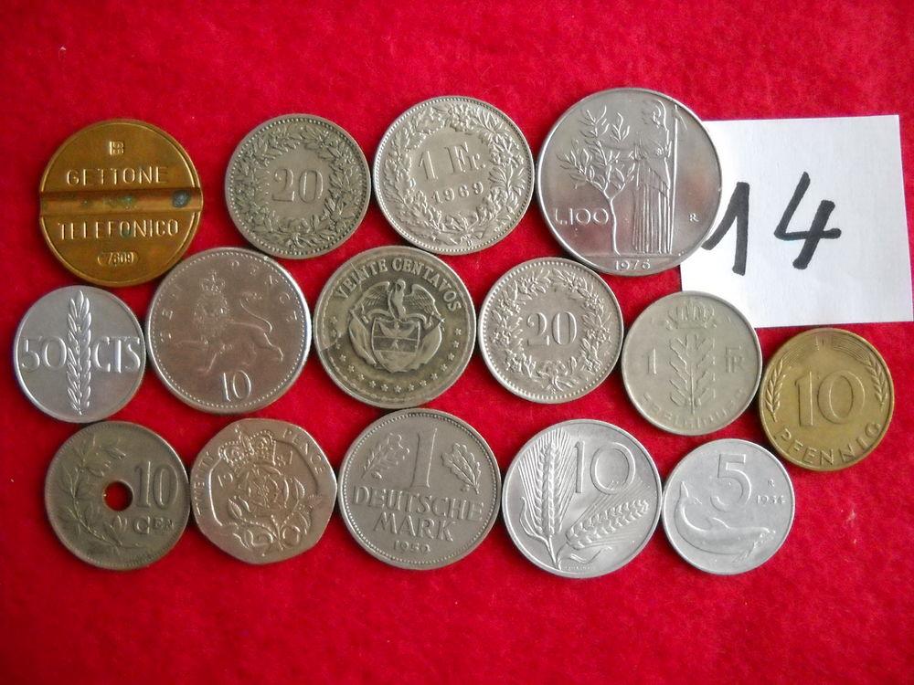 Monnaie : 15 pièces diverses étrangères - LOT N° 14 5 Roanne (42)