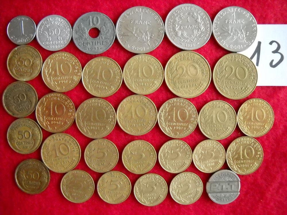Monnaies : 32 pièces diverses en FRANC - LOT N° 13 6 Roanne (42)