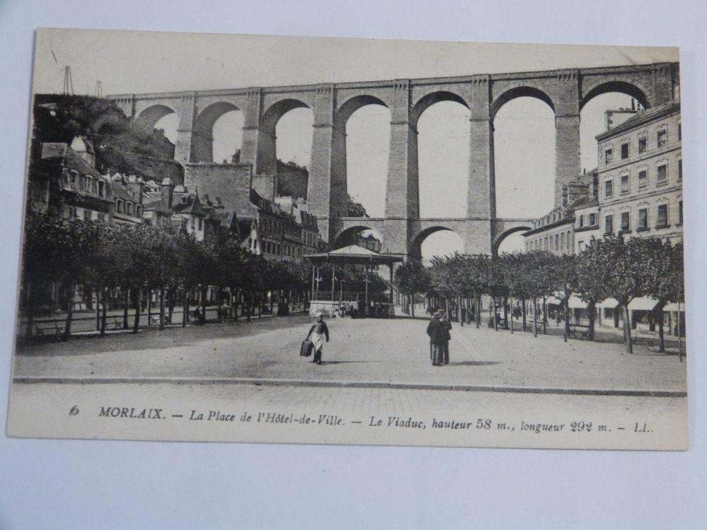 MORLAIX  - LA PLACE DE L' HOTEL DE VILLE  -  LE VIADUC 3 Brest (29)