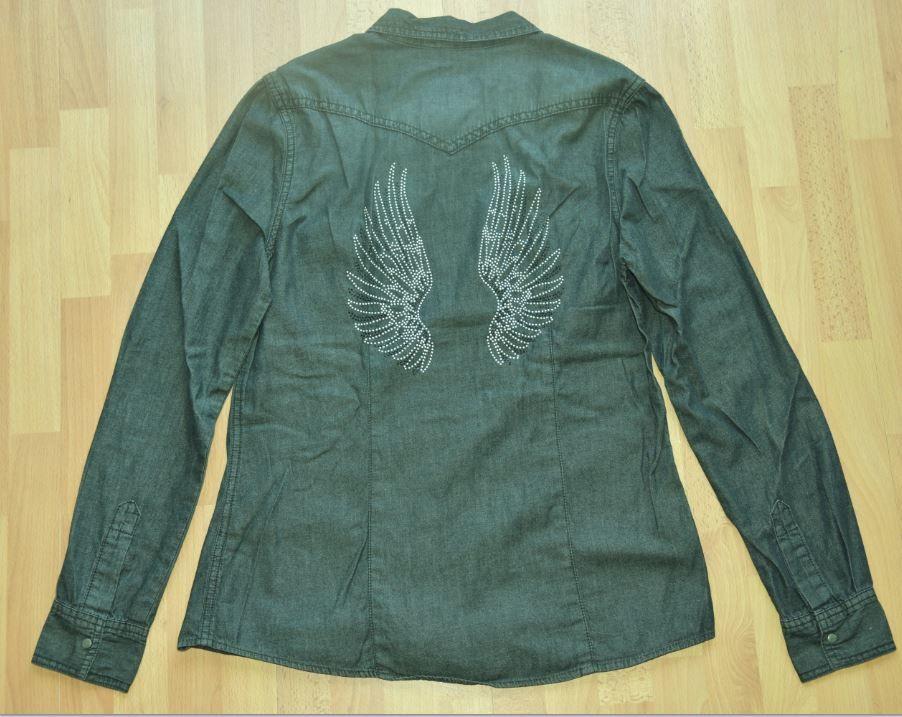 NEUF.  Camaieu.  Taille 38.  CHEMISE grise avec motifs ailes 14 Gujan-Mestras (33)