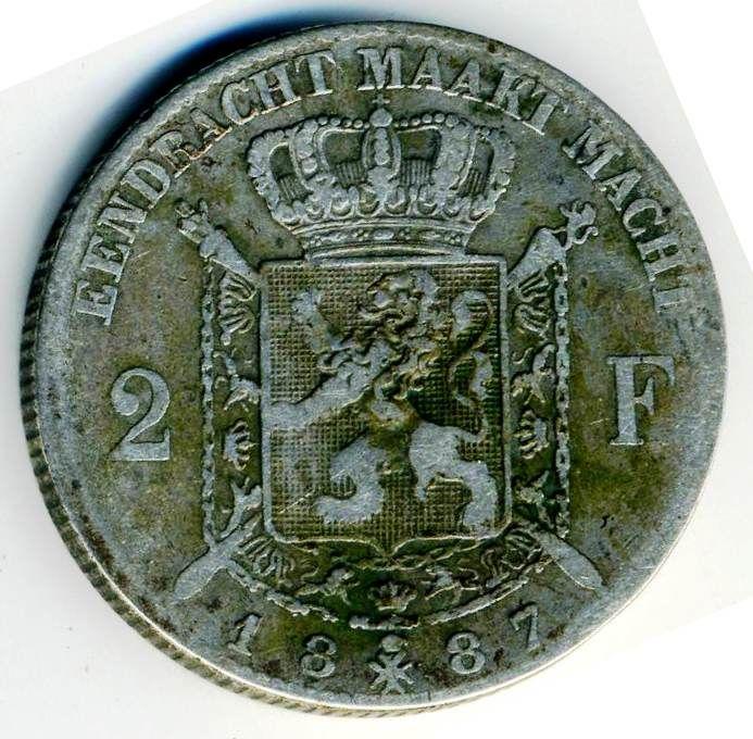 Numismatique belgique pièce belge 2F 1887 léopold2  169 La Rochelle (17)