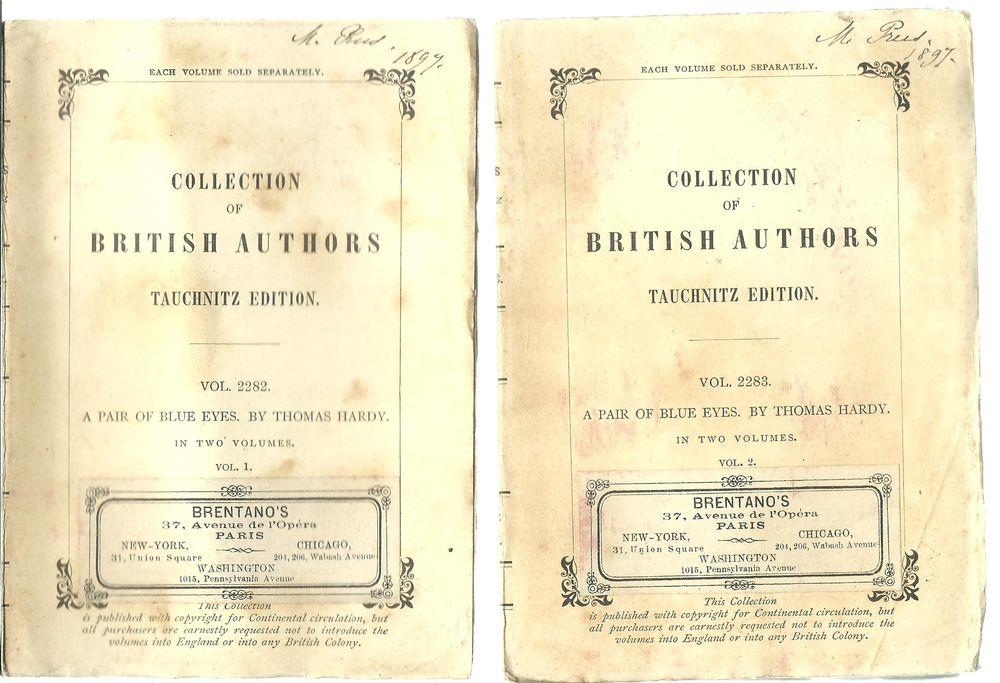 A pair of blue eyes Thomas HARDY coll. british autors 2 vol  24 Montauban (82)