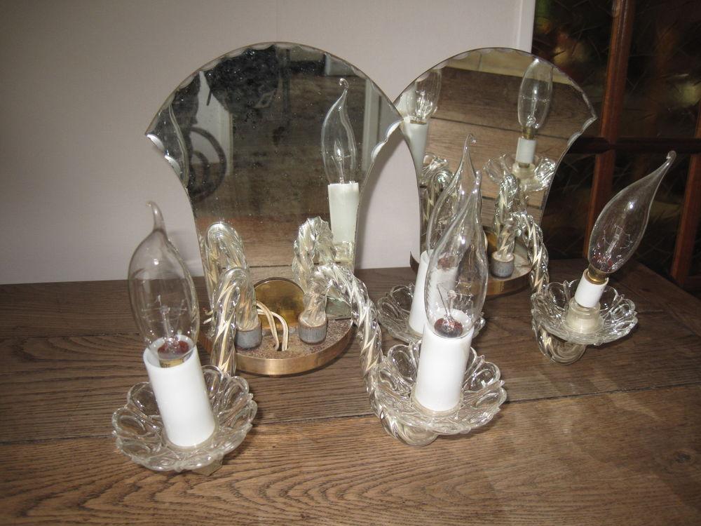 1 paire d'appliques double feux en verre + miroir. Vintage 31 Croissy-Beaubourg (77)