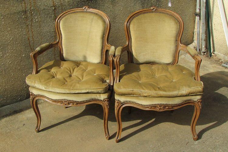 Paire de fauteuils cabriolets bergères, Style Louis XV 380 Paris 18 (75)
