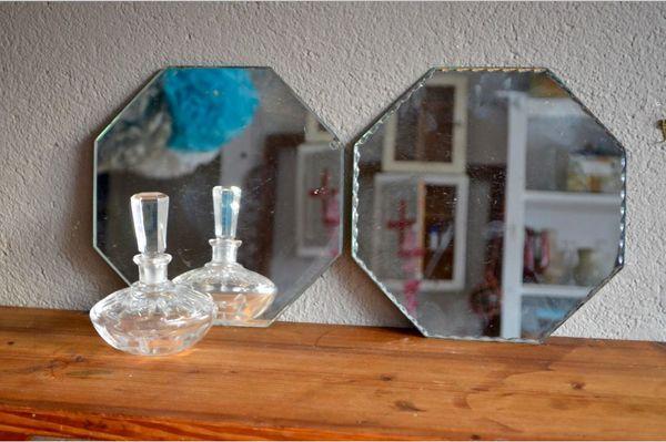 Paire de miroirs vintage rétro actogonal art déco 65 Wintzenheim (68)