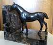 Paire de serre-livres Chevaux Bronze socle marbre Paris 14 (75)