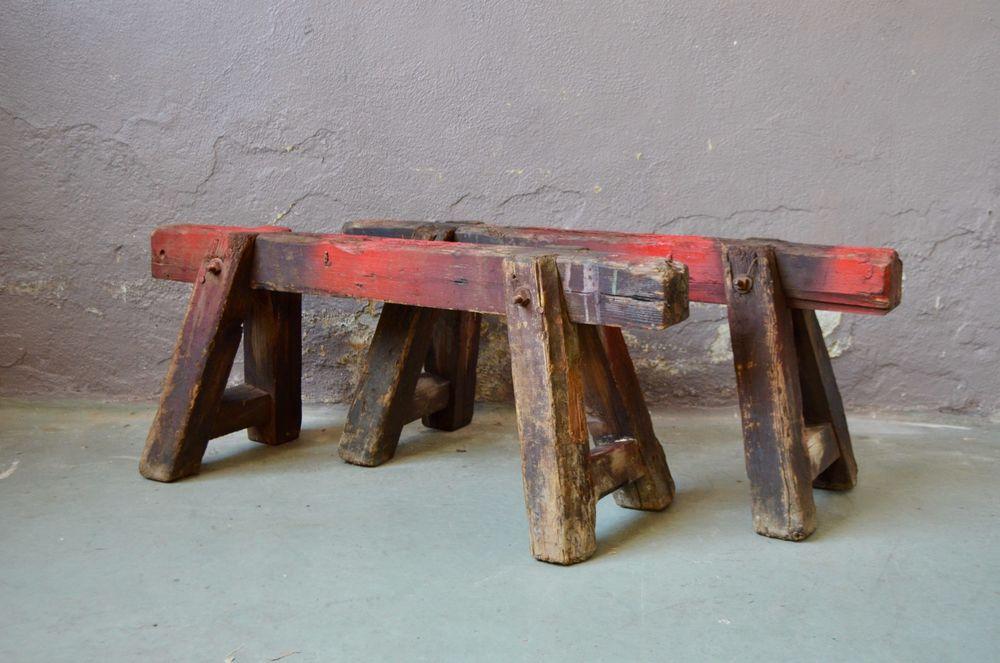 Paire de tréteaux d'atelier ancien, style indus table basse 440 Wintzenheim (68)