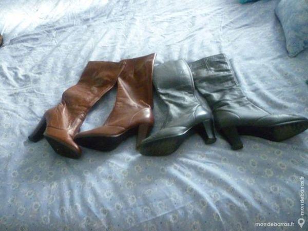 3 paires de bottes femme cuir agneau véritable 40 Le Syndicat (88)