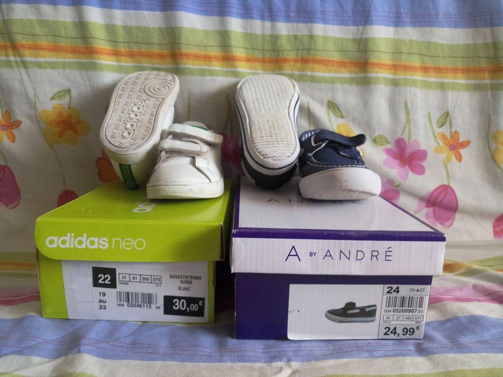 LOT DE 2 PAIRES DE CHAUSSURES ADIDAS-22 et ANDRÉ-24 Chaussures