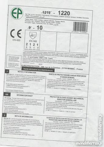 7 paires de gants neufs, T 10 ou 11, usage mécanique Bricolage