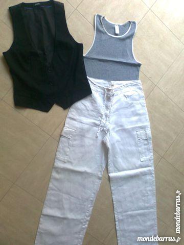 PANTALON lin blanc, GILET  noir, déb. - 38 - zoe 2 Martigues (13)