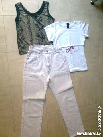 pantalon blanc jean + 2 hauts - S - zoe Vêtements