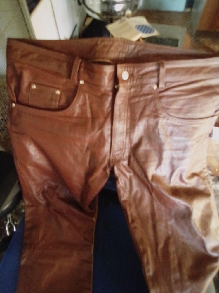 Pantalon homme en cuir marron doux Vêtements
