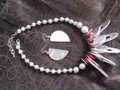 Parure métal argenté (collier + boucles d'oreilles) 10 Mons-en-Barœul (59)