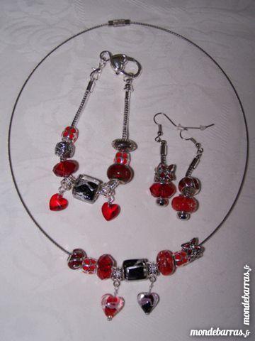 Parure métal Charm rouge-noir Bijoux et montres