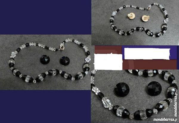 PARURE vintage perles cristal, jais B.O + collier 20 Écuisses (71)