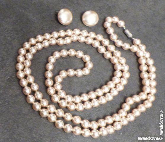 PARURE VINTAGE SAUTOIR + B.O. perles verre nacrées 20 Écuisses (71)