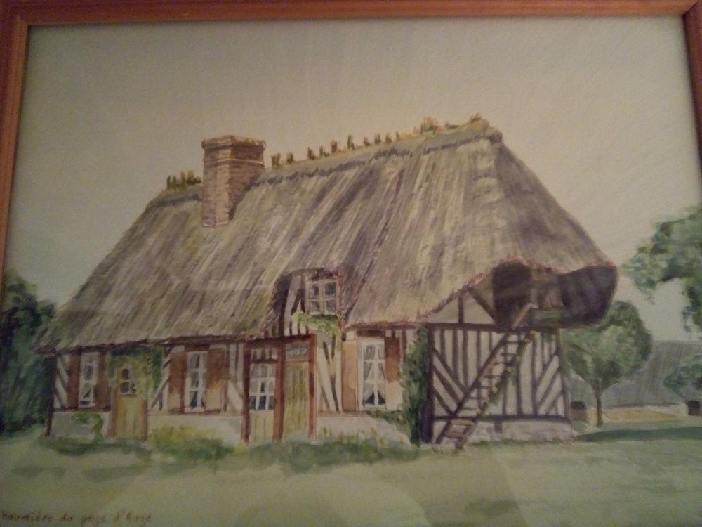 Peinture aquarelle chaumière du pays d'auge  15 Savigny-sur-Orge (91)