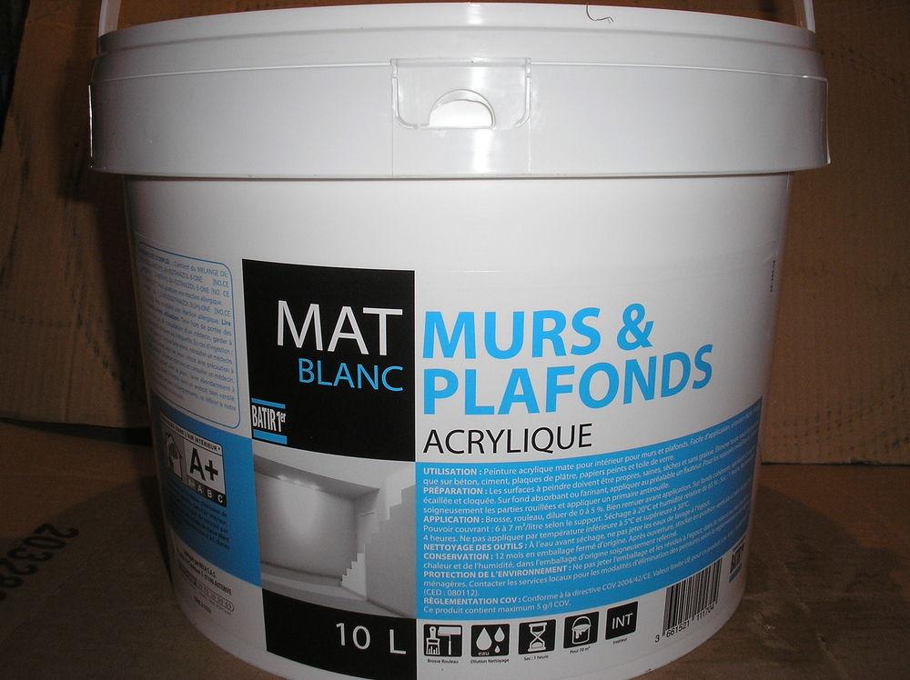Peinture Blanc Mat Acrylique Pot De 10 Litre