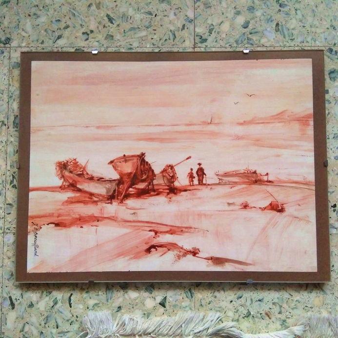 Peinture  scène de pêche  30 Tassin-la-Demi-Lune (69)