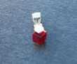 Pendentif argent 925, cristal spinelle cube rouge profond