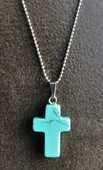 Pendentif croix Turquoise naturelle sur chaine à boule acier 8 La Seyne-sur-Mer (83)