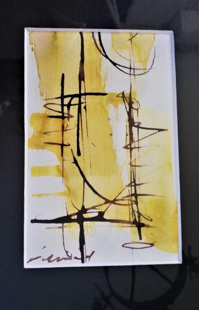 Petit tableau moderne signé encadré tons jaunes et noirs Décoration