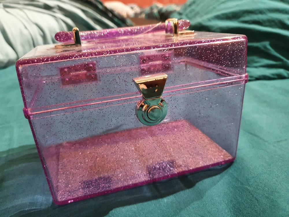 Petite boite de rangement maquillage violet pailleté 3 Sulniac (56)