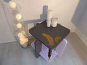 Petite table ART - déco revisitée   PLUMES  CBM 45 Francheville (69)