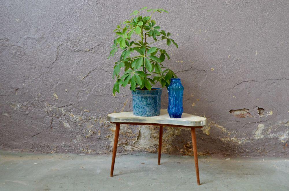 Petite table tripode porte plante vintage scandinave ancien 90 Wintzenheim (68)