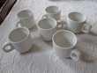 Lot de 6 petites tasses à café blanches avec soucoupes Cuisine