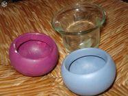 Lot de 3 petits bougeoirs transparent mauve bleu 0 Mérignies (59)