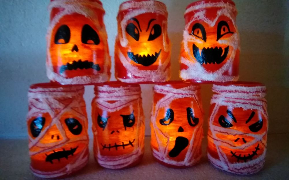 Photophore Halloween bougeoirs momie 10 Bruges (33)