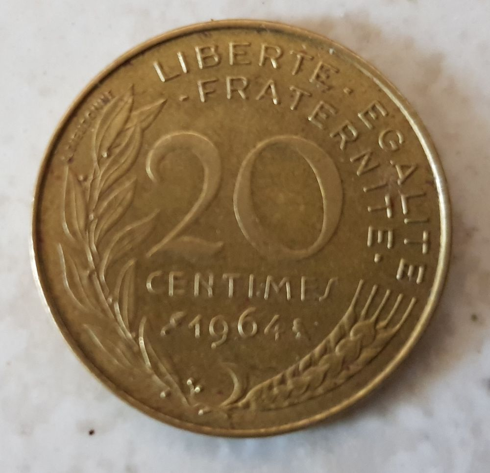 Pièce 20 centimes Marianne 1964 Francs 1 Marseille 9 (13)