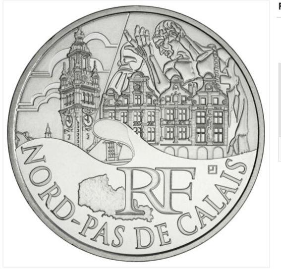Pièce de 10 euros argent Nord Pas de Calais année 2011 15 Hem (59)