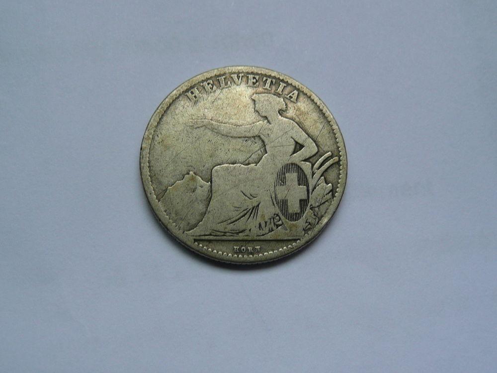 Pièce 2 francs suisse argent 1860 B Helvetia 49 Bordeaux (33)