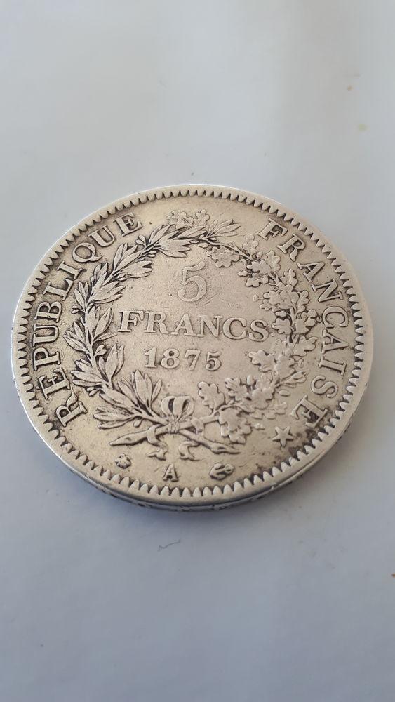 1 pièce de monnaie de 5F argent, année 1875 26 Grabels (34)