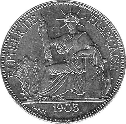 Pièce d'une piastre en argent ; Indochine française [1905 ] 0 Narbonne Plage (11)