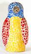 Pièce unique signée. Pingouin en terre et mosaïque