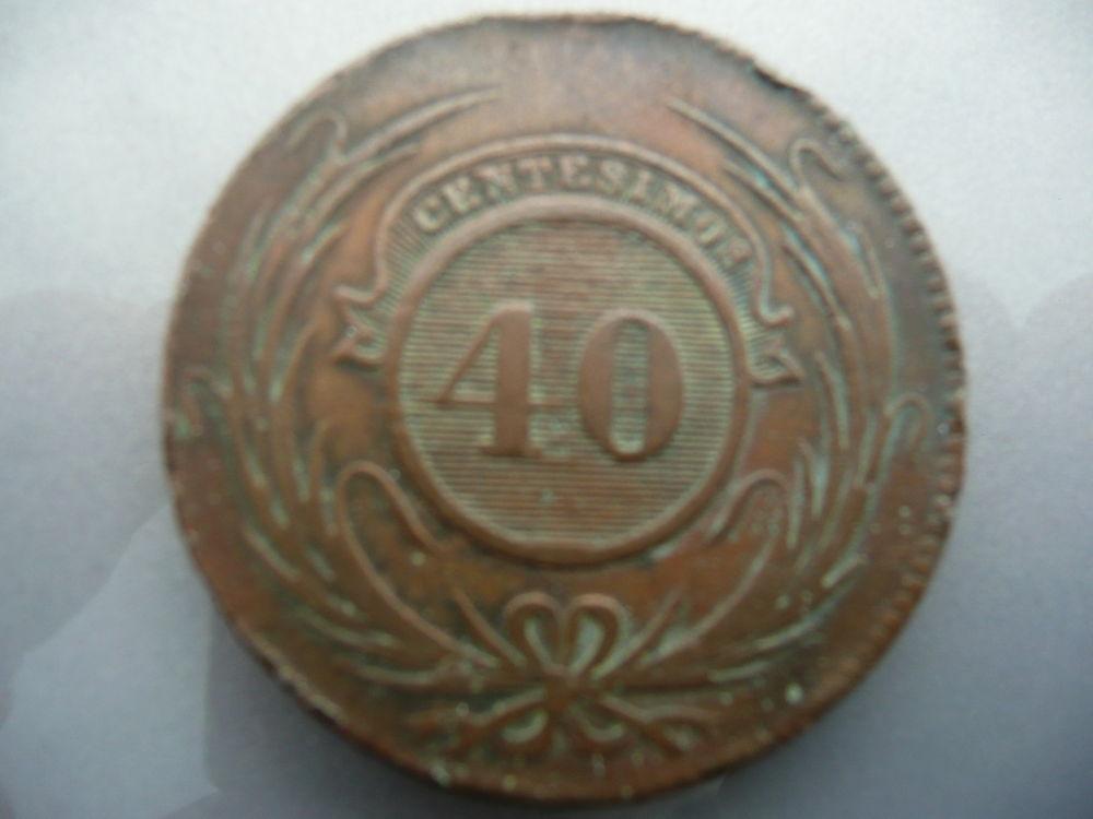 Pièce Uruguay 40 centimos 1844 cuivre 65 Bordeaux (33)