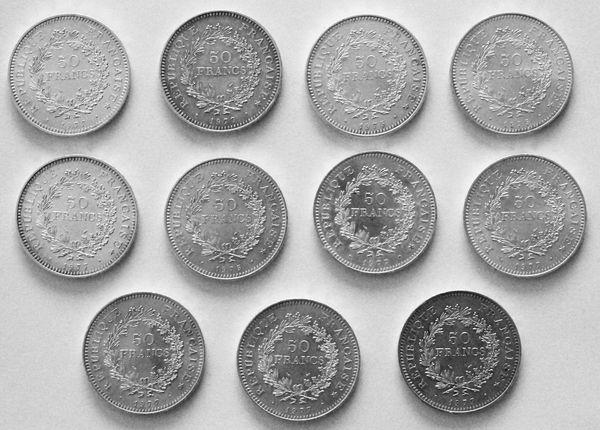 11 pièces 50 Francs Hercule argent 28 Souffelweyersheim (67)