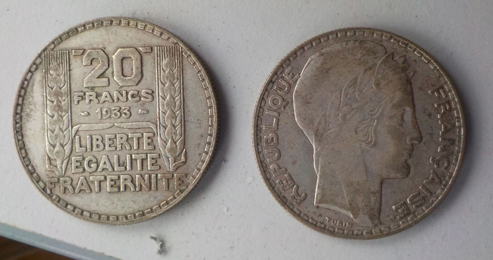 Pièces 20 francs Turin 1933 0 Dunkerque (59)