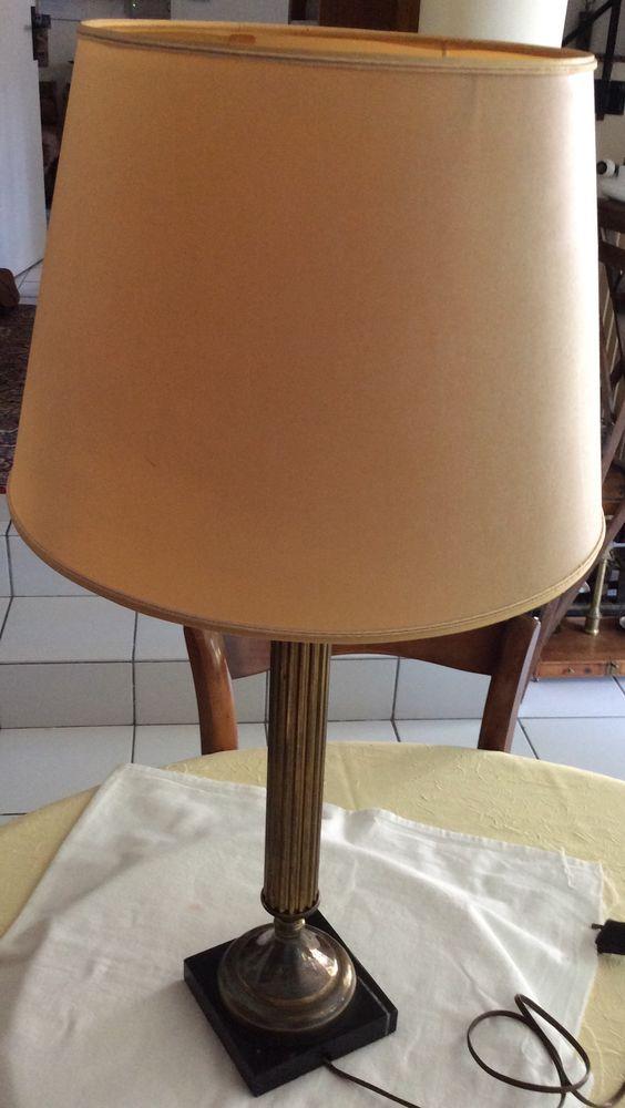 Pied de lampe ancien 1930/40 cuivre laitonné socle marbre 40 Gif-sur-Yvette (91)