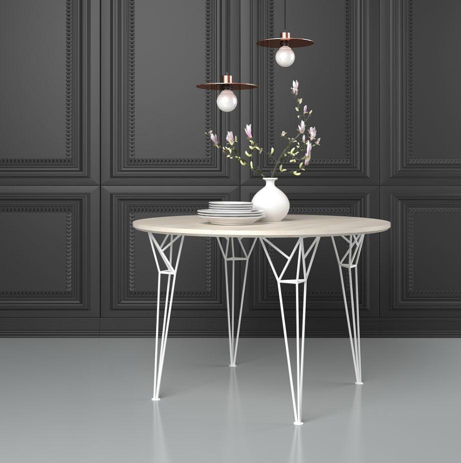 Lot de 4 Pieds blanc design Eiffel NEUF / table à manger Meubles