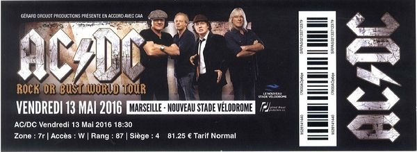 1 place concert d'AC/DC Marseille (13 mai) Billetterie