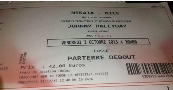 2 places johnny hallyday nice 2 oct 2015 alphar 84 Villeneuve-d'Ascq (59)